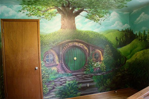 The shires lord of the rings and the hobbit on pinterest for Hobbit themed bedroom