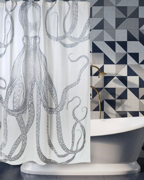 Octopus Silver Metallic Shower Curtain Shower Curtain Curtains