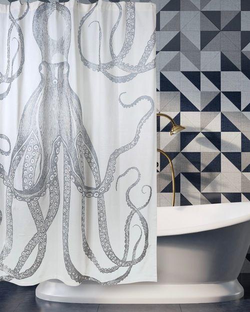 Octopus Silver Metallic Shower Curtain Shower Curtain Curtains