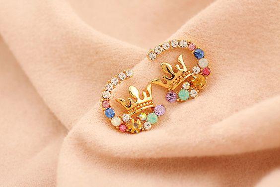 Multiple Color Crystal Crown Stud Earrings