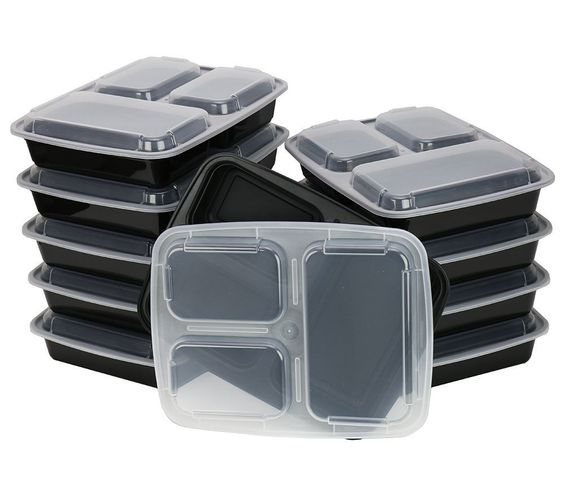 Amazon.com: ChefLand 3-Compartment Microwave Safe Food Container with Lid/Divided Plate/Bento Box/Lunch Tray with Cover, Black, 12-pack: Kitchen & Dining
