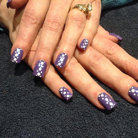 Purple polka dot nail art