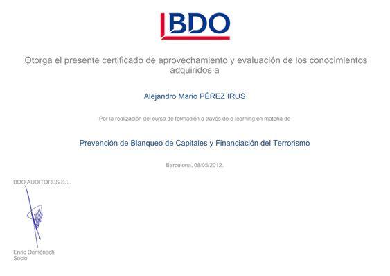 2012 Certificado realización de Curso Blanqueo de Capitales y Financiacion del Terrorismo para AlejandroPI Alejandro Perez Irus Servicios Inmobiliarios Profesionales