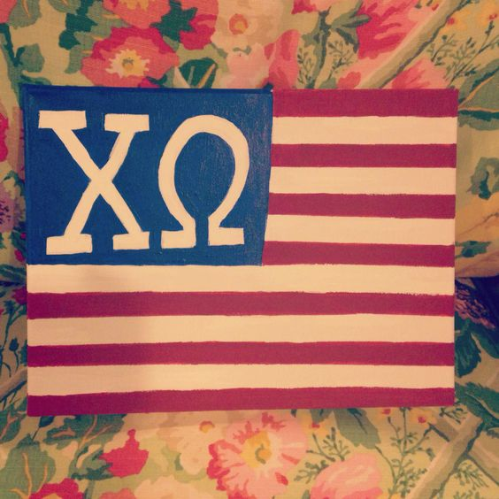 Chi omega sorority America- flag canvas. Super happy with the way it turned out!: