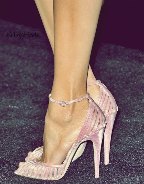 Strappy pale pink satin ankle strap peep toe heels sandals ...