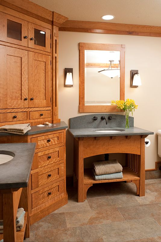 A Curly Cherry Arts And Crafts Master Bath Features Dual Vanities With Slate Tops For Him And Her Craftsman Bathroom Custom Bathroom Cabinets Bathroom Styling