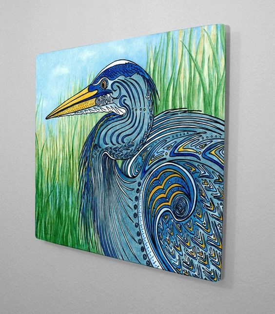 Great Blue Heron Wall Art Aluminum Ready to Hang. $62.00, via Etsy.