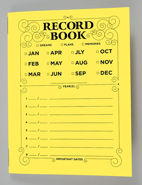 For dreams, plans, and memories, our Record notebook is the perfect companion. Mark important dates on the cover for easy browsing and organizing.  With 32 pages and 8 title spaces on the cover, there are 4 internal pages for each batch of notes… or with any other page dividing scheme you wish to use. The pages are blank and there are no rules.