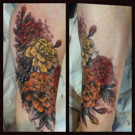 Freshly inked marigolds by Bonnie Seeley at Black Thumb Tattoos (Salt Lake City)