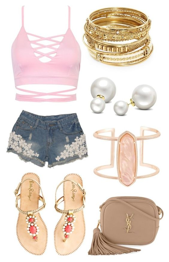 Untitled #1757 by lover99 on Polyvore featuring polyvore fashion style Lilly Pulitzer Yves Saint Laurent ABS by Allen Schwartz Kendra Scott Allurez clothing