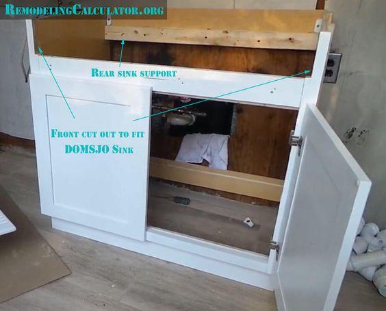 Ikea Domsjo Sink In Non Ikea Kitchen Cabinet Diy Installation In