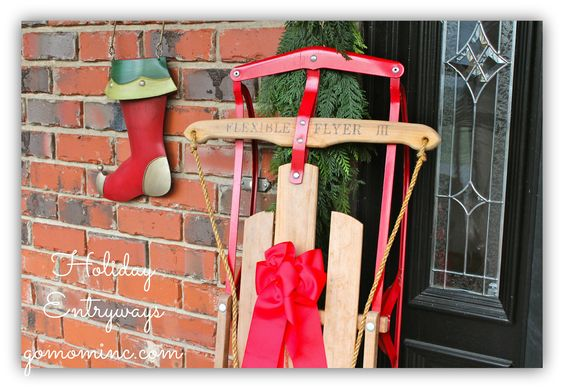 We rarely use our Flexible Flyer but it looks fabulous next to my front door!  Ideas for Holiday Entryways with ProFlowers and RedEnvelope #spon: Decor Ideas, Front Doors, Holiday Entryways, Entryways Pfdecorates, Holiday Decor, Front Porches, Condo Ideas