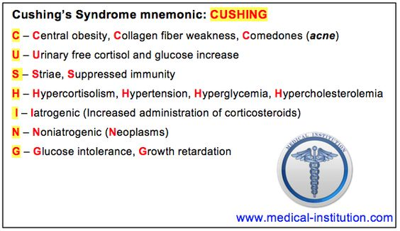 cushings disease   Cushing's Syndrome Mnemonic - Medical Institution Medical Institution