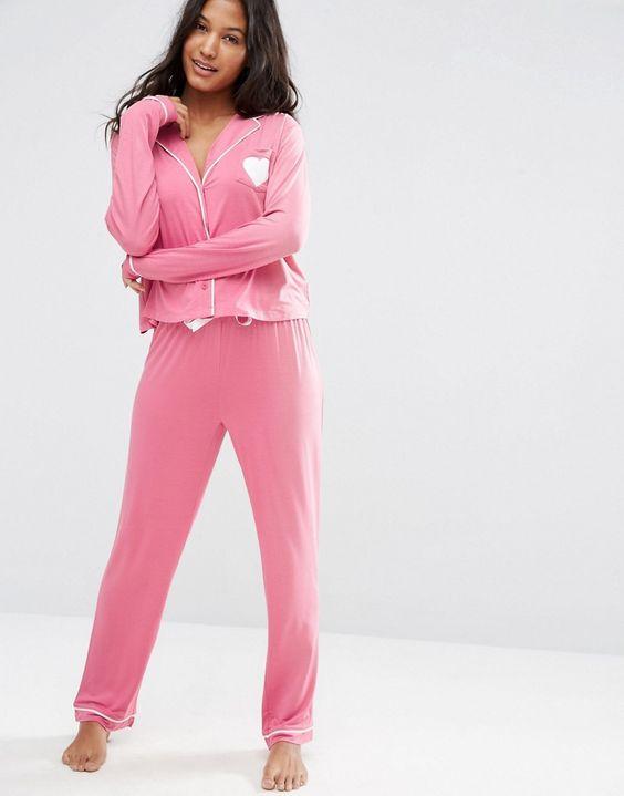 ASOS+Traditional+Jersey+Long+Sleeve+Shirt+&+Long+Leg+Pyjama+Set