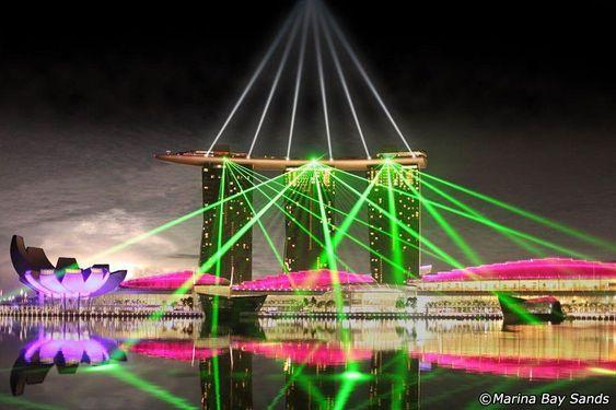 Nhạc nước Wonder Full được diễn ra tại tòa nhà Marina Bay Sands.
