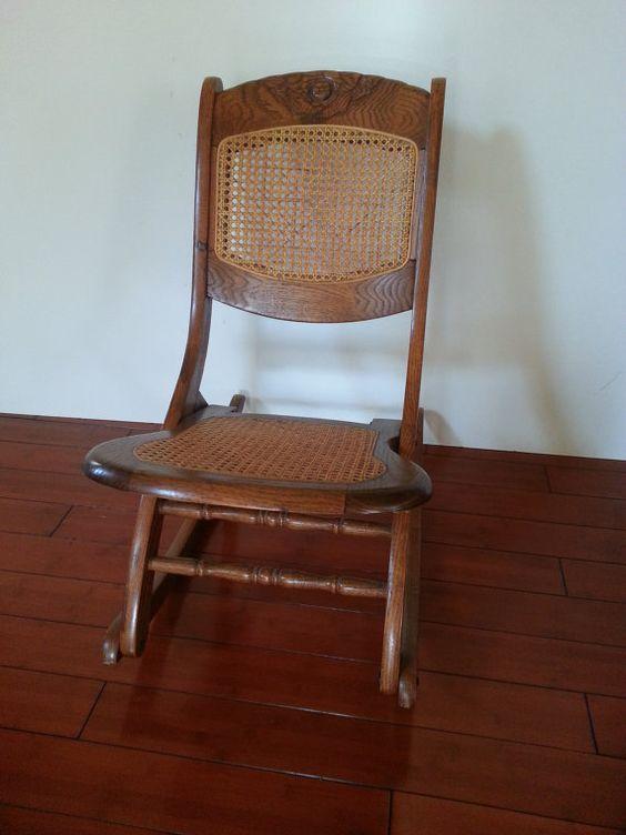 rocking chair antique carved solid oak folding rocker. Black Bedroom Furniture Sets. Home Design Ideas