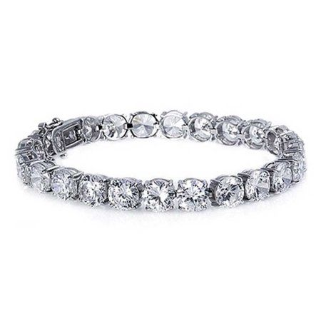 Bling Jewelry Bridal Round Cubic Zirconia Tennis Bracelet 8in Rhodium Plated #bridaljewelry