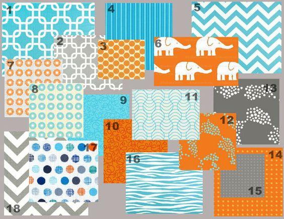 Aqua and gray without the orange i 39 m thinking aqua for Boy nursery fabric