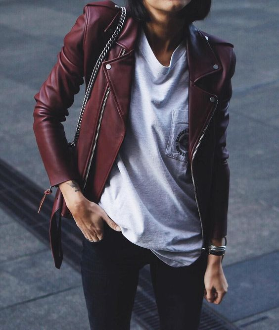 red leather jacket                                                                                                                                                                                 More