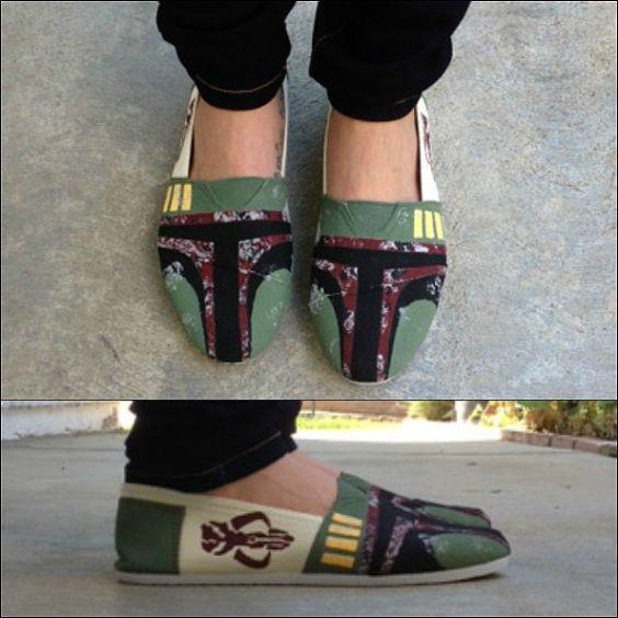 Handpainted Boba Fett Star Wars Shoes by TheFiercestFandom on Etsy, $70.00
