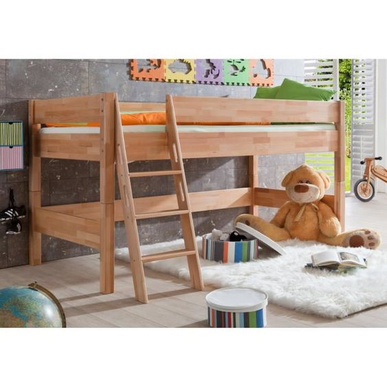 lit mi hauteur pour enfant coloris bois naturel mezzanine. Black Bedroom Furniture Sets. Home Design Ideas