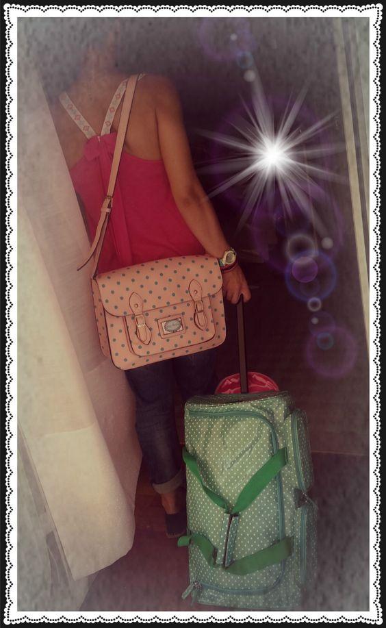 #pink#bags#travel#dots#petitboutik#bows#romantic#girly