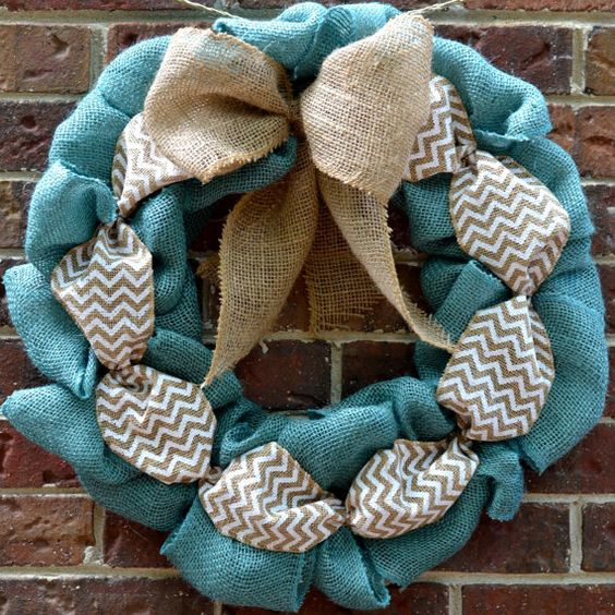 Blue Burlap Wreath by KsSouthernCharm on Etsy