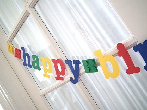 NEW  LEGOThemed Happy Birthday Banner with 3D Blocks by 5280bliss, $20.00