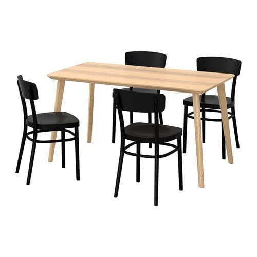 Lisabo Idolf Table Et 4 Chaises Plaque Frene Noir Ikea Ikea Ikea Table Table