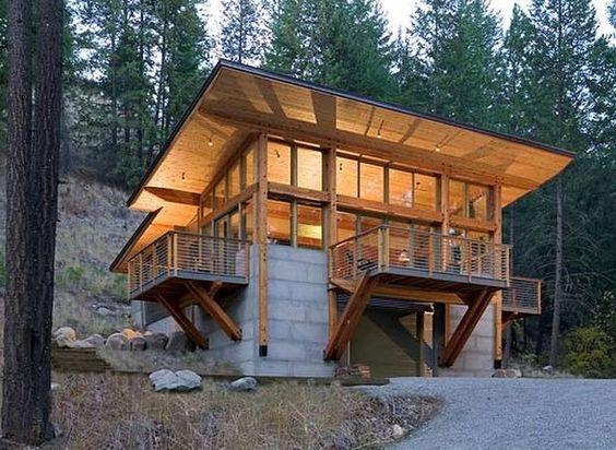 Perspectiva de caba a de bloques de concreto y m dulos de madera en estados unidos casas sobre - Modulos de casas ...