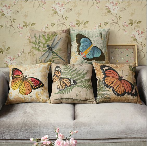 Throw Pillows For Couch Pinterest : Vintage Throw Pillow Covers Butterfly Dragonfly Printed Pillowcase Nap Rest Sofa Couch Chair Car ...