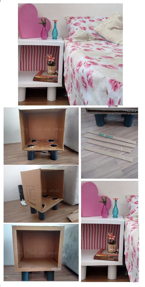 Criado mudo feito de papelão com pés de tubo de PVC.Revestido de adesivo vinílico e tecido. Neste site você encontra muito faça você mesmo, fáceis, baratos e criativos http://issoeoqueamo.blogspot.com.br: