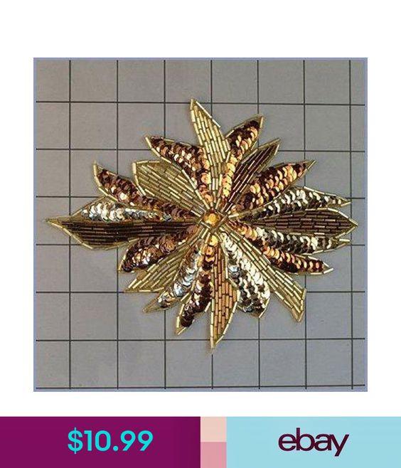 SEQUIN BEADED PEACH//PINK IRIS FLOWER PAIR APPLIQUES 2144-H