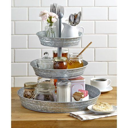 3-Tier Rustic Serving Tray - Galvanized Metal Kitchen Stand with Farmhouse Style Image 1 of 3