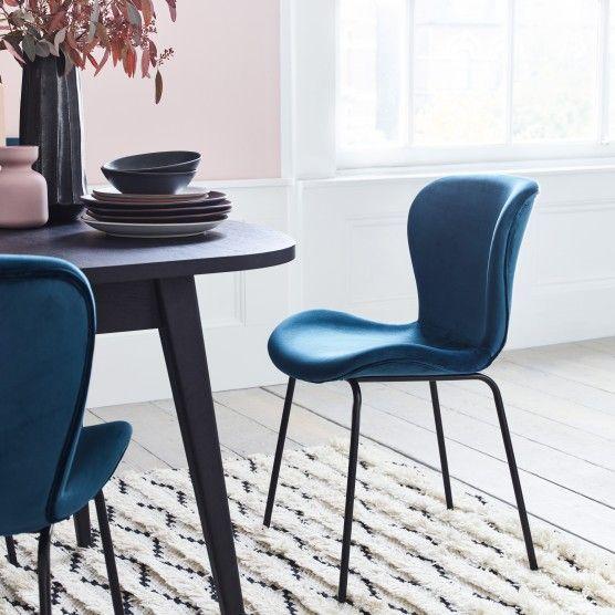 Etta Chair Dark Blue Velvet Upholstered Dining Chair With Black