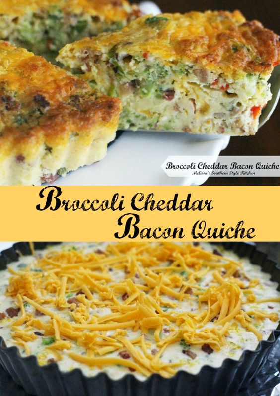 Bacon quiche, Cheddar and Bacon on Pinterest