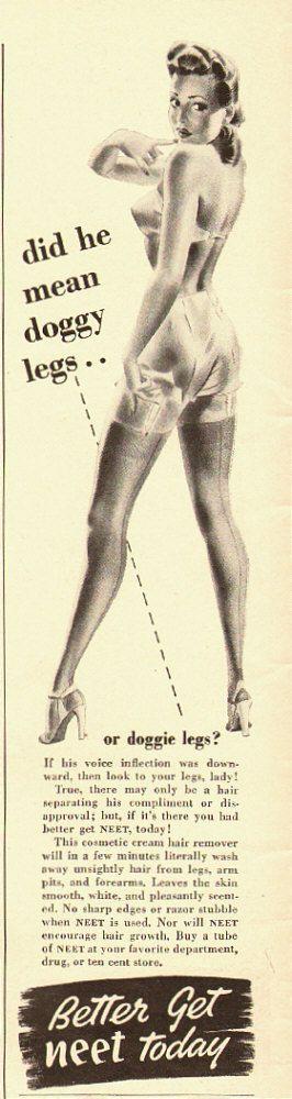 1949 Ad - Neet Cream Hair Remover - 'did he mean doggy legs...or doggie legs'