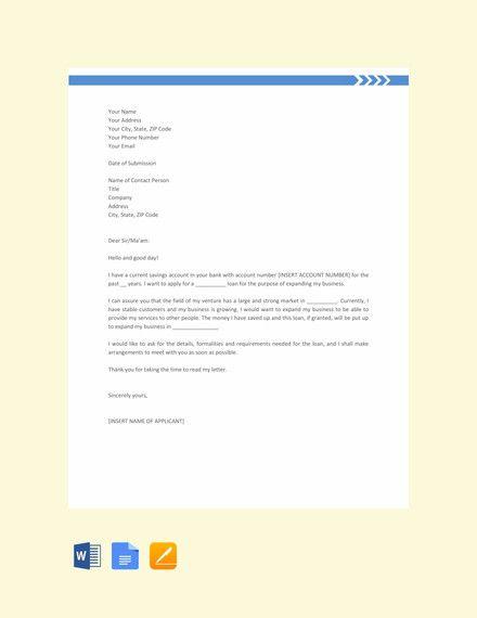 17 Sample Loan Application Letters Pdf Doc Application