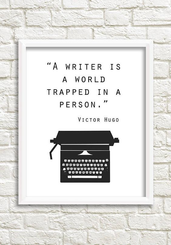 """Typography wall art that makes a great gift for any writer. Victor Hugo typewriter art.  """"A writer is a world trapped in a person."""""""