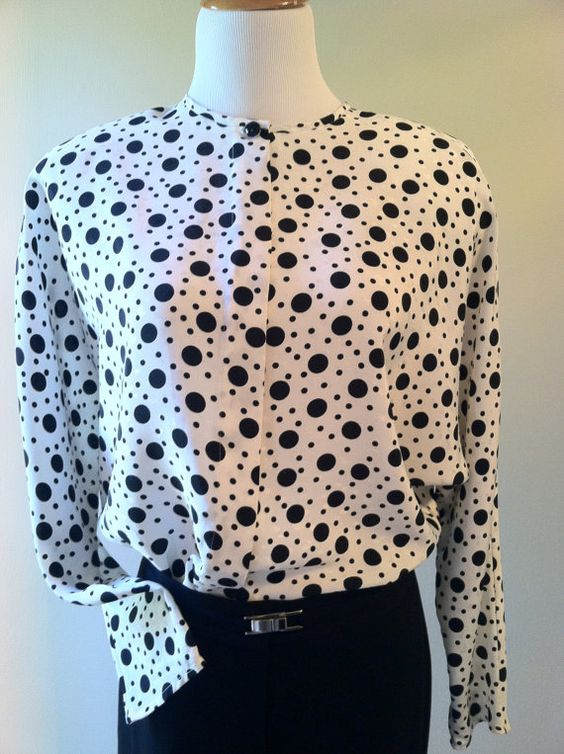 Long Sleeve Black and White Polka Dot Blouse/Top 70s by pdee5069, $9.25
