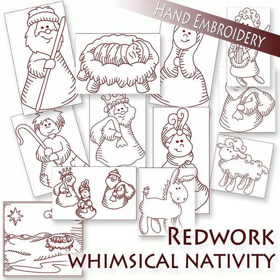 Nativity Redwork ... by StitchX | Embroidery Pattern - Looking for your next project? You're going to love Nativity Redwork Hand Embroidery  by designer StitchX. - via @Craftsy