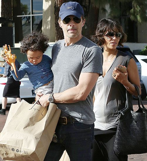 Halle Berry went for something to eat at a market in Malibu, California, with her husband Olivier Martinez and their son, Maceo.