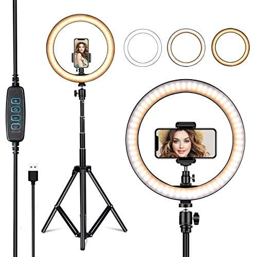 Villsure 10 Selfie Ring Light With Tripod Stand Led Ring Light Phone Holder For Iphone Android Ringlight For Live Stream Makeup Photography Youtube Video In 2020 Selfie Ring Light Led Ring Light