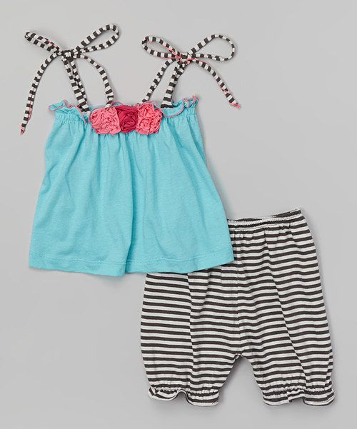 Look at this Victoria Kids Turquoise Stripe Tank & Black Bloomers - Infant & Toddler on #zulily today!
