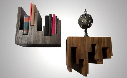 Repurposed Bookshelves - Austin-based Ref-use's line of dramatic chairs, tables, flooring and shelves are made from salvaged wood that would otherwise have ended up in landfills.