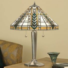 Lloyd 2 Light Tiffany Style Table Lamp with a Nickel Finish