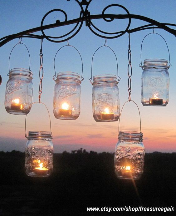 jar candle holders,  junk gypsy style