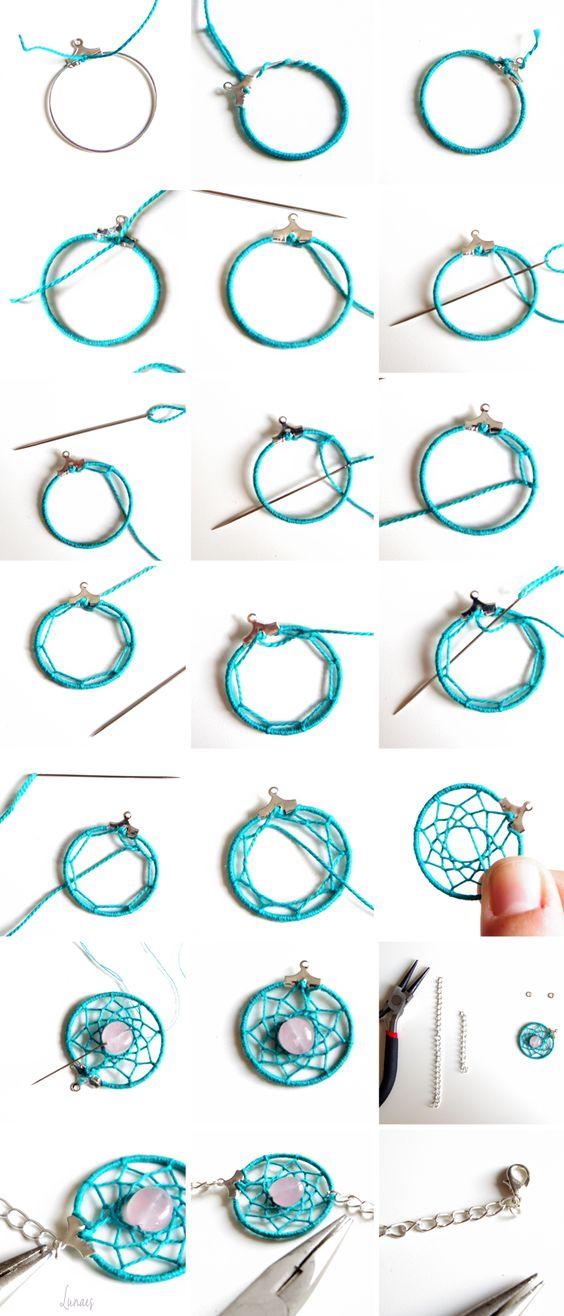 Je te propose de faire un bracelet Dreamcatcher, pour un belle été sans mauvais rêves !