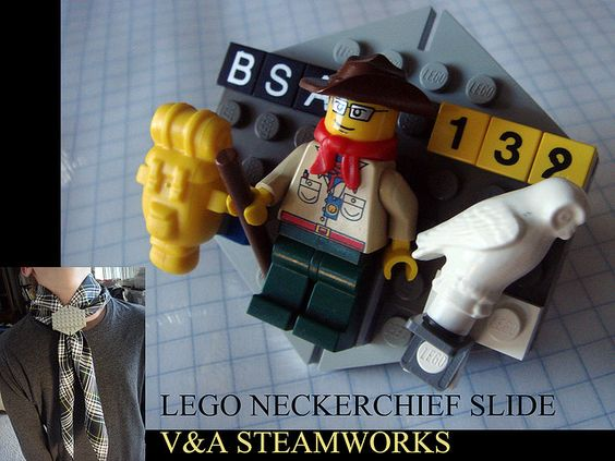 A lego neckerchief slide for Cub Scouts? Awesome!!!! I think I'll be hunting for the lego guys.....