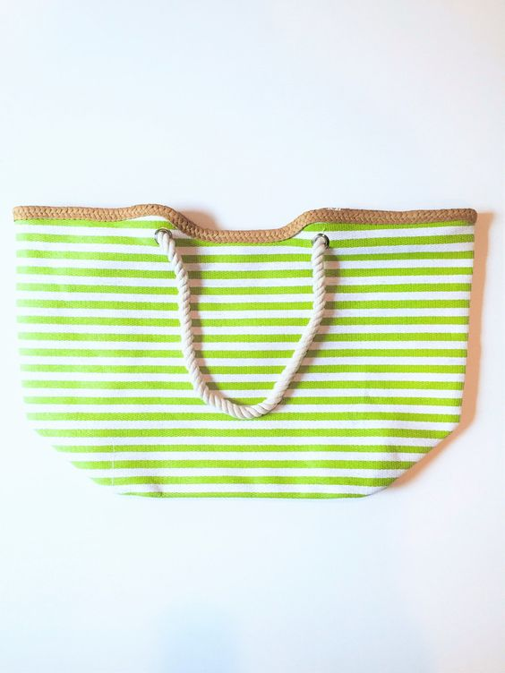 BEACH TOTE IN LIME GREEN STRIPE $ 30.00 at www.veux.com Canvas beach tote in Lime Green Stripe. Measures 22 in. by 15 in. Single Snap Closure Interior Pocket, Rope Handles